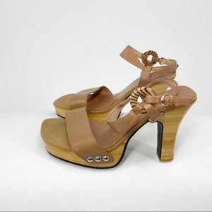 C LABEL By Turbo Cat Wood Platform Sandals Y2K 8.5